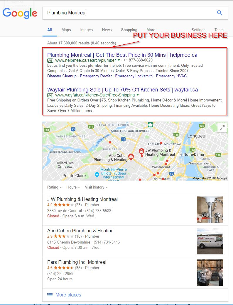 Plumbing Montreal Google Adwords Google Search - PLUMBER SEO
