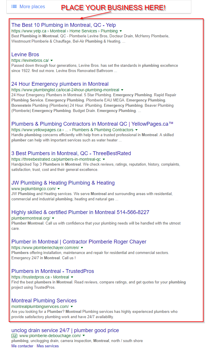 add a plumber buisness to google search results - PLUMBER SEO